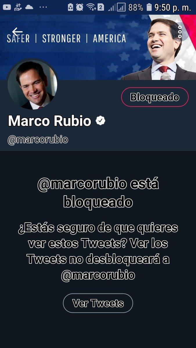 RT @GamargoMaritza: #MarcoRubioBLOCKED y denunciado https://t.co/QOHVfcOHSK