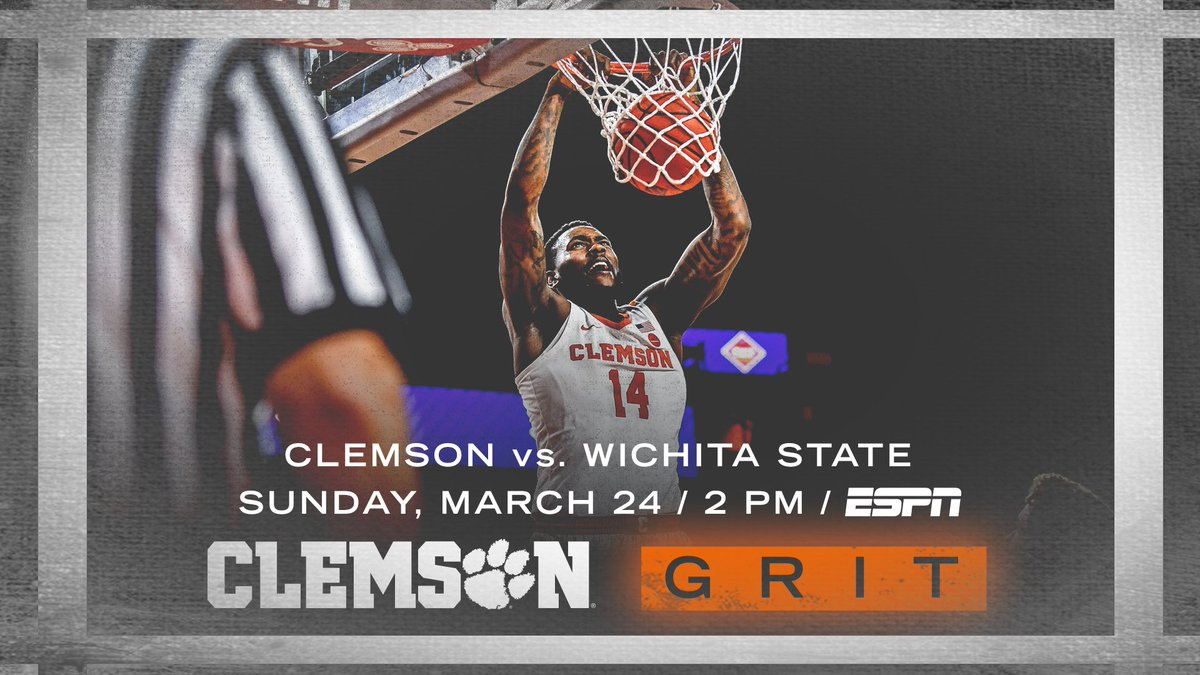 We'll host Wichita State on Sunday, March 24 at 2️⃣PM. The game will be aired on ESPN.  #ClemsonGRIT