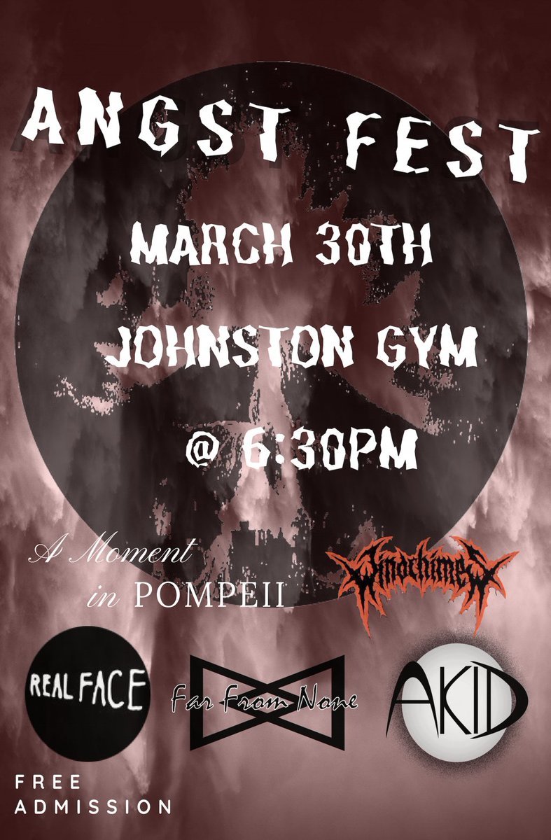 AKID is gonna be playing at Angst Fest at Geneva College in Beaver Falls, PA on March 30th.  FREE ADMISSION <br>http://pic.twitter.com/3pU9yWf8wK