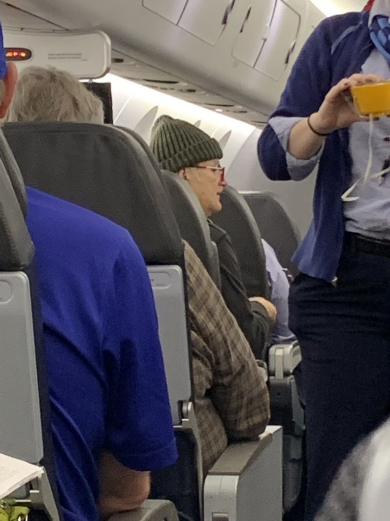 Mentioned on radio show that I think biggest celebrity in DM for #NCAATournament won't be Izzo or Pitino, but rather Bill Murray.   @jokald just sent this photo from his Charlotte to DSM flight. Murray en route.    Son coaches for Louisville. <br>http://pic.twitter.com/WBLhzvaSup