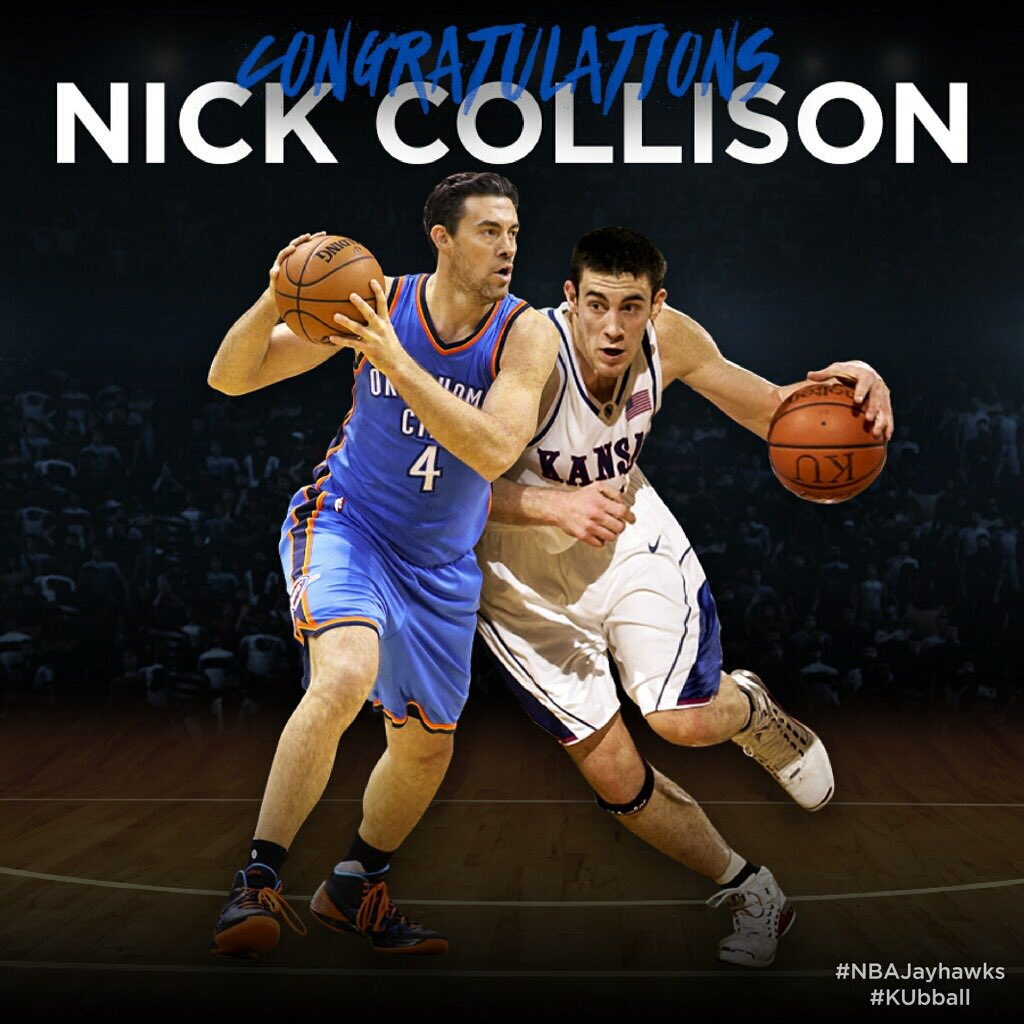 Congratulations @nickcollison4, we're proud to have your jersey in our rafters and proud to see another one go up with @okcthunder!  WATCH ➡️ http://kuathne.ws/2uiNXmS #4MrThunder