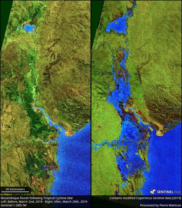 Mozambique flood comparison before and after Copernicus/Pierre Markuse