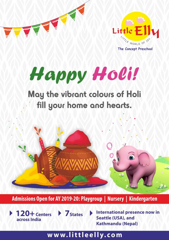 May the vibrant colors of Holi fill your home and hearts. Happy Holi from Little Elly. https://buff.ly/2HIL72x   #LittleElly #happy #holi #Preschool #Playschool #Admissionsopen #Admissions #Kids #Bangalore #Franchise #Edupreneur #Kindergarten #Playgroup #lkg #ukg #BestPreschool