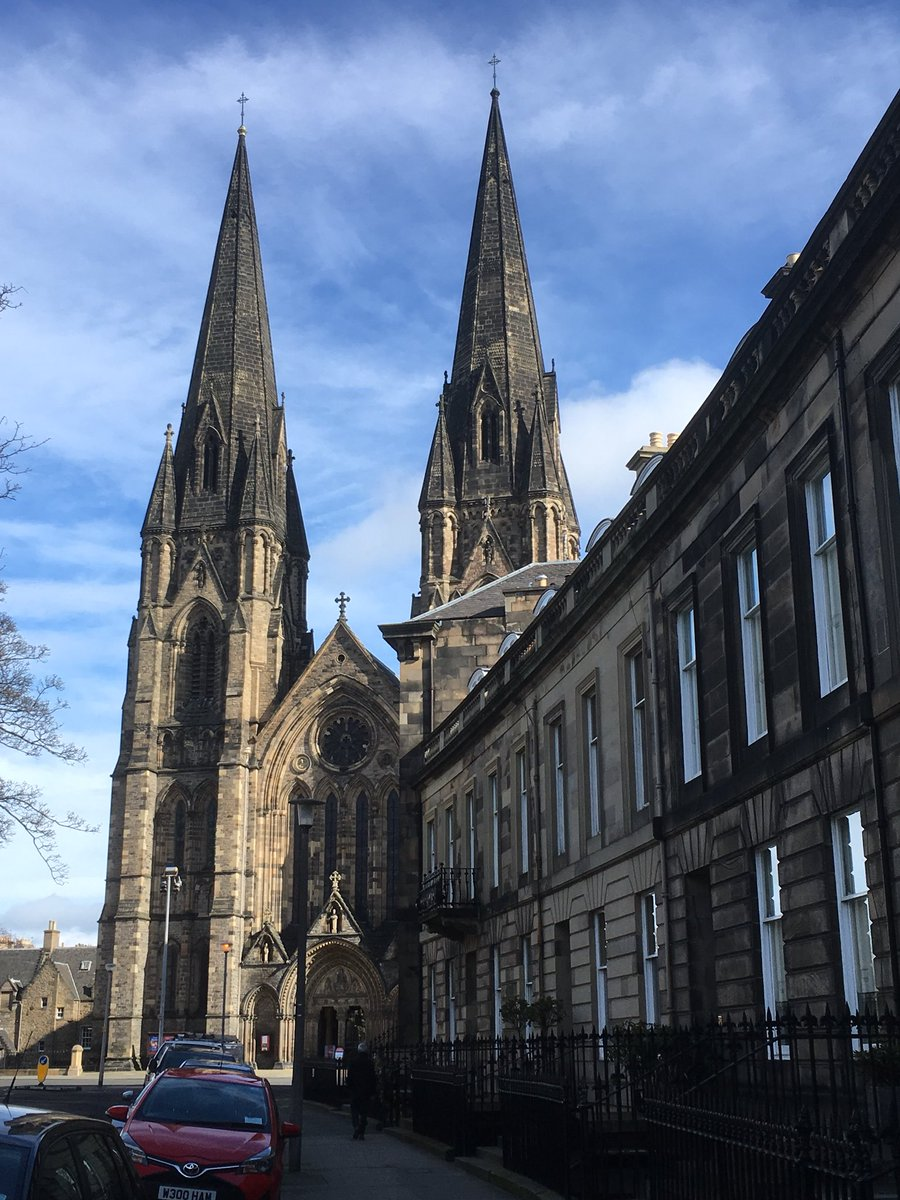 Standing tall : at 90m in height, the spire at St. Mary's Cathedral is the tallest in Scotland! Wander & explore Edinburgh's West End #edinburghwows #thisisedinburgh #takeacloserlook #hiddengems