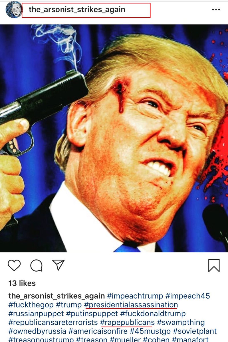 Stay classy @instagram (owned by @facebook) apparently violent images of the @POTUS with hashtags about assassination and raping republicans do not violate community guidelines BUT posts from @Scavino45 do? Disgusting. #StopTheBias @DonaldJTrumpJr @DevinNunes $FB