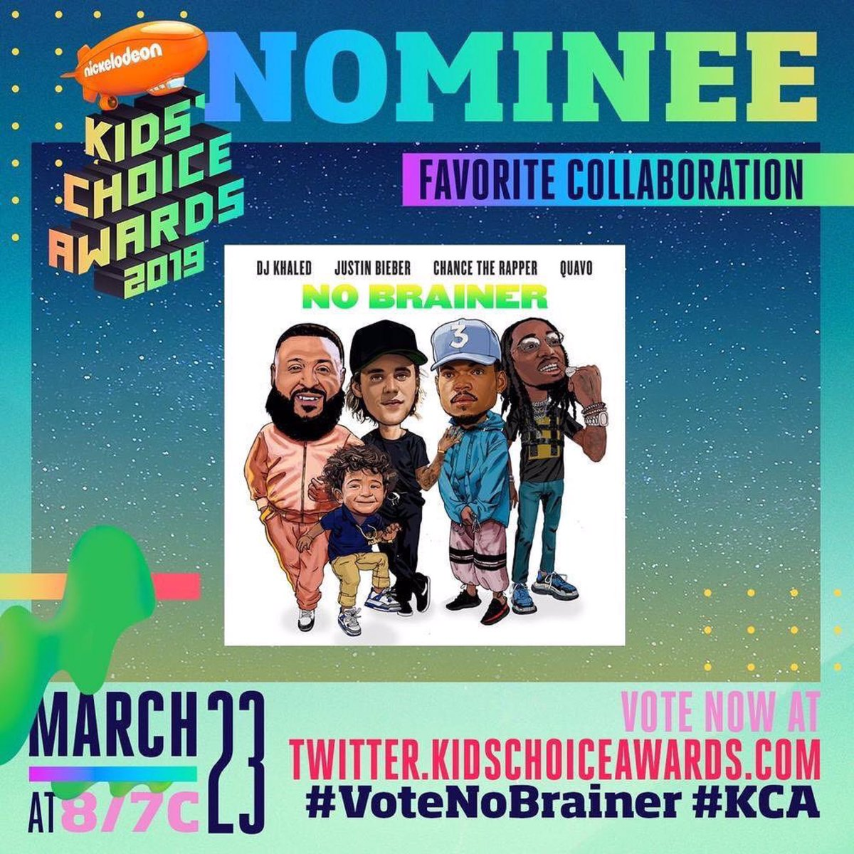 """""""No Brainer"""" by DJ Khaled featuring Justin Bieber, Chance The Rapper, and Quavo is nominated for Favorite Collaboration at the 2019 KCA's. Tweet and RT using the hashtags #VoteNoBrainer #KCA or online. Voting ends at 12pm EDT on Friday, March 22nd.<br>http://pic.twitter.com/cbvAWioUY8"""
