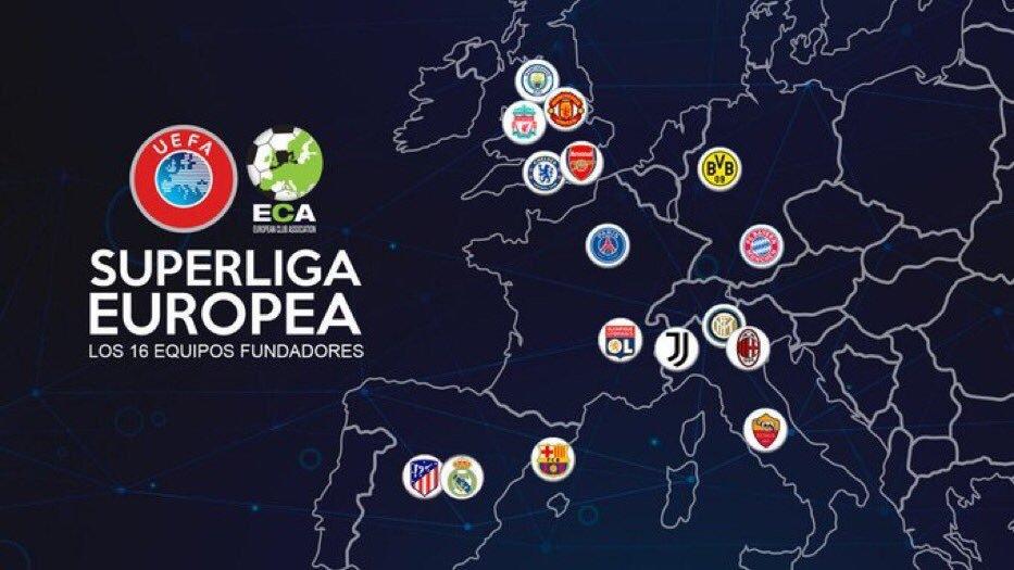 D'après @JuanAntAlcala, en 2024 on aura la Superliga Europea avec ces 16 clubs :  - 900M de droit TV - Les matchs auront lieu le samedi et le dimanche. - Le Real et le Barca seront systématiquement présent.  - Les championnats seront décalés au mardi et mercredi.