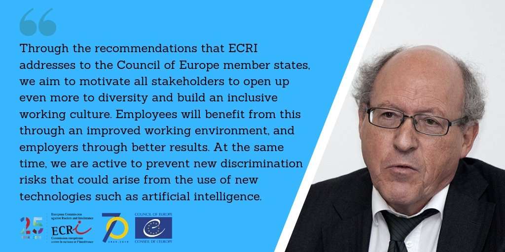 #ECRI's chair @JeanLehners states on #AntiRacismDay:  Access to employment is a key to successful and sustainable inclusion of all people into society. Full declaration of heads of European Human Rights Institutions at:   https://www. coe.int/en/web/europea n-commission-against-racism-and-intolerance/-/renewed-efforts-needed-to-eliminate-racial-discrimination-especially-in-the-workplace-say-heads-of-europe-s-human-rights-organisations  …  #FightRacism #EliminateRacism <br>http://pic.twitter.com/1mjTDZqIAL