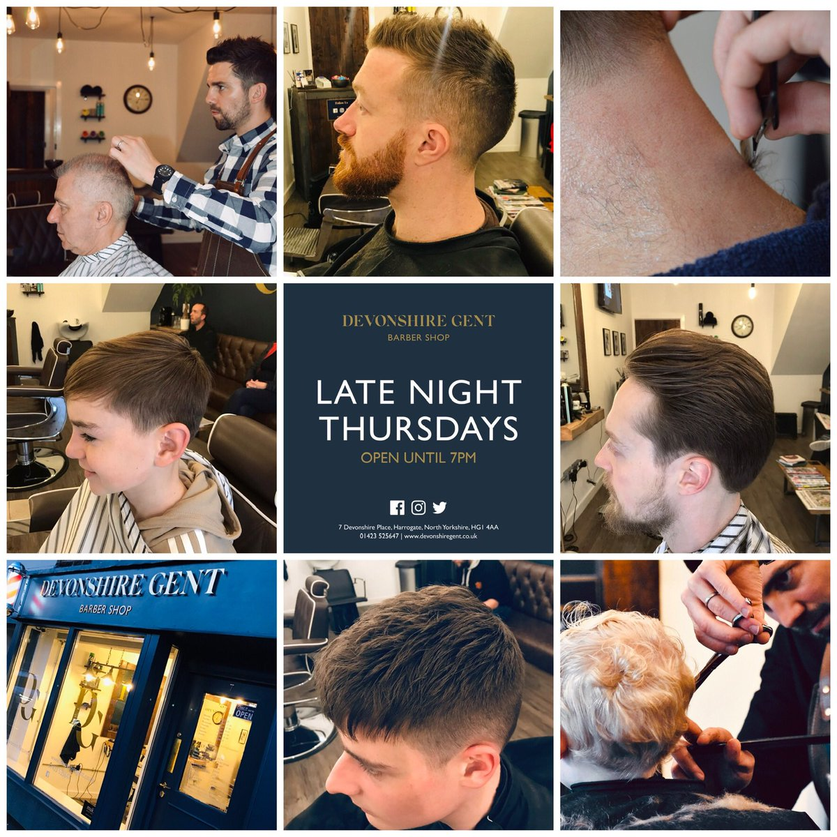 Open until 7pm tonight! Find us at Devonshire Place, HG1 4AA. Parking available opposite on Regent Parade. Visit http://www.devonshiregent.co.uk for more info on prices & services. All ages welcome! #Harrogate #barber #familybarber #localbarber #menshairpic.twitter.com/dOLHvGXCmh