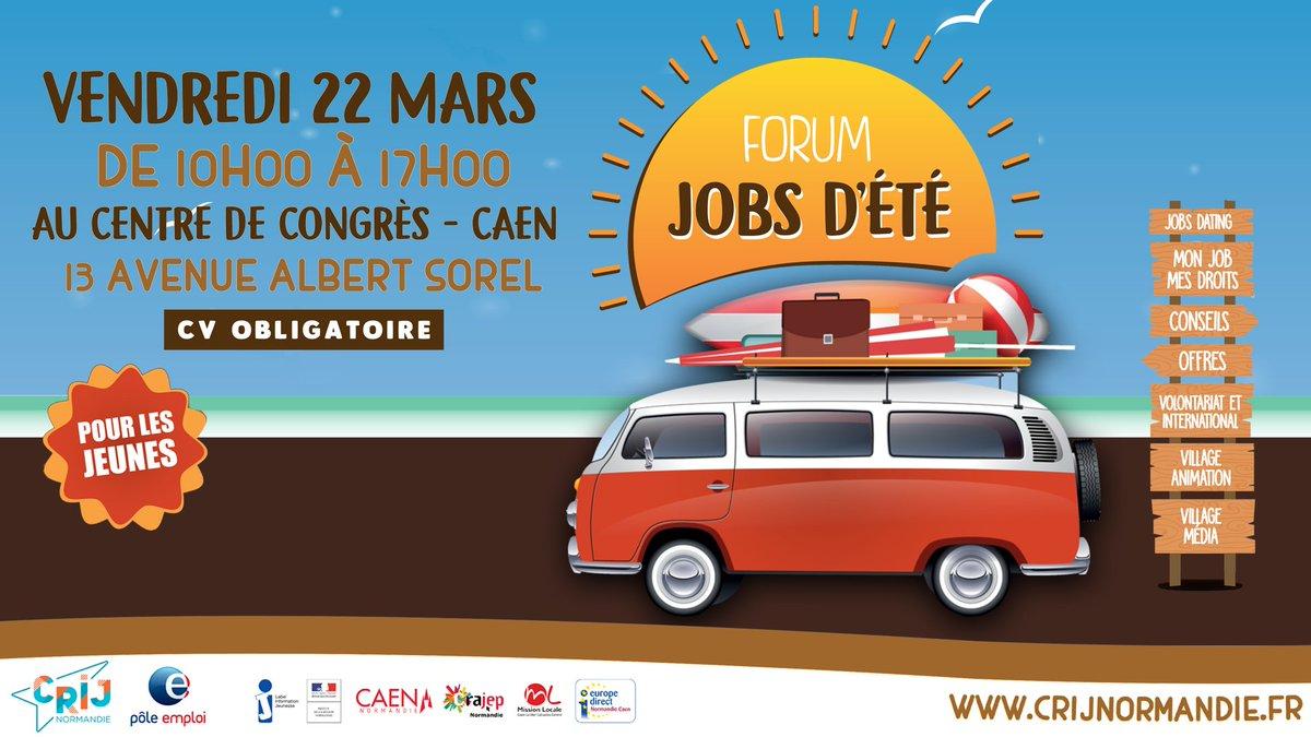 A la recherche d'un job d'été ? Tous à vos CV demain #CentredeCongrèsCaen de 10h à 17h. 39 recruteurs directs, plus de 2000 postes proposés! Le Forum Job d'été : l'évènement incontournable des jeunes à la recherche d'un emploi pour l'été @CRIJ_Caen @Poleemploi_Ndie @CaenOfficiel https://t.co/LXJCixwnOJ