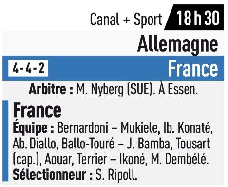 Nos 4 lyonnais (#Tousart, #Aouar, #Terrier et #Dembele) devraient être titulaires avec l'équipe de France Espoirs qui affronte l'Allemagne ce soir. (L'Équipe)