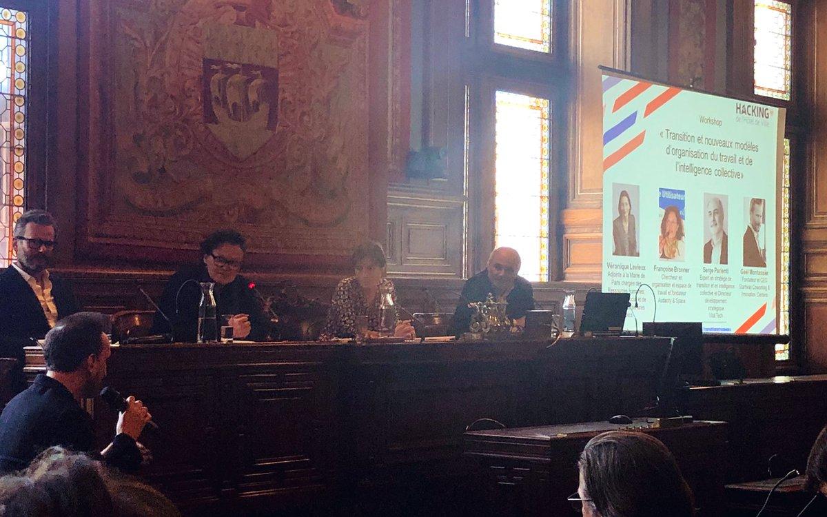 Aujourd'hui là meilleure équipe possible est le quatuor agile.  Un guide d'équipe, un réalisateur (un expert), un organisateur (celui qui aide et fait le lien), et le mobilisateur positif (amène la vision d'ensemble). #hackingParis  @fbronner nous parle d'intelligence collective – at Hôtel de Ville de Paris