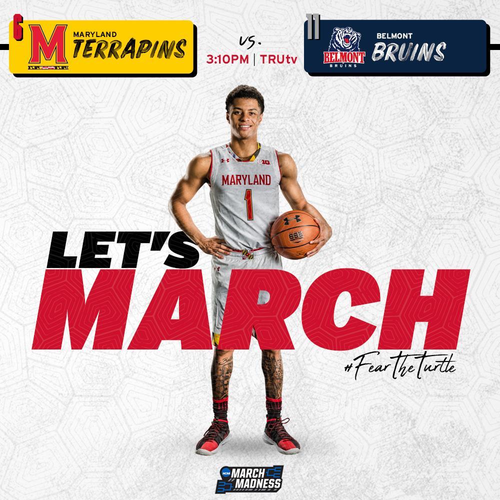 Let the games begin!   : #6 #Terps vs. #11 Belmont  : 3:10pm : TruTV    #FearTheTurtle | #MarchMadness <br>http://pic.twitter.com/jo9nXzlvNF