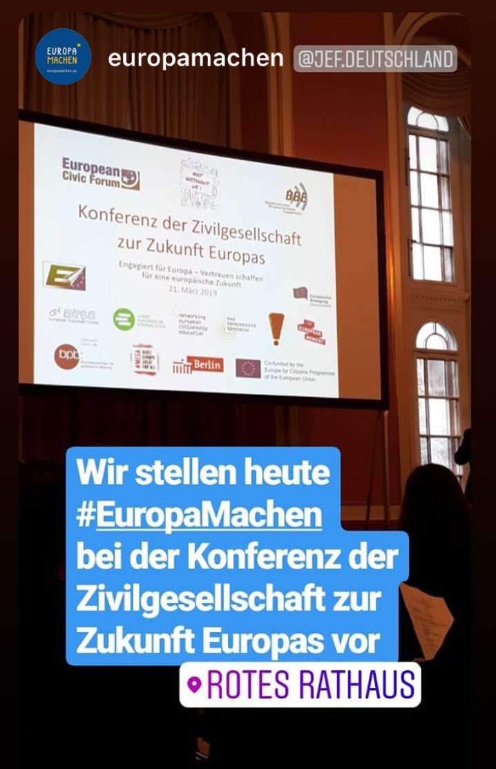 """Start of conference #NotWithoutUs in #Berlin Town Hall - @RegBerlin. """"Shrinking civic space is becoming a growing problem in Europe"""", says Frank Heuberger of @BBE_Europa 👍🏼 We agree and fully support efforts in connecting civil society #campaigns on #EuropeanElections 🇪🇺"""