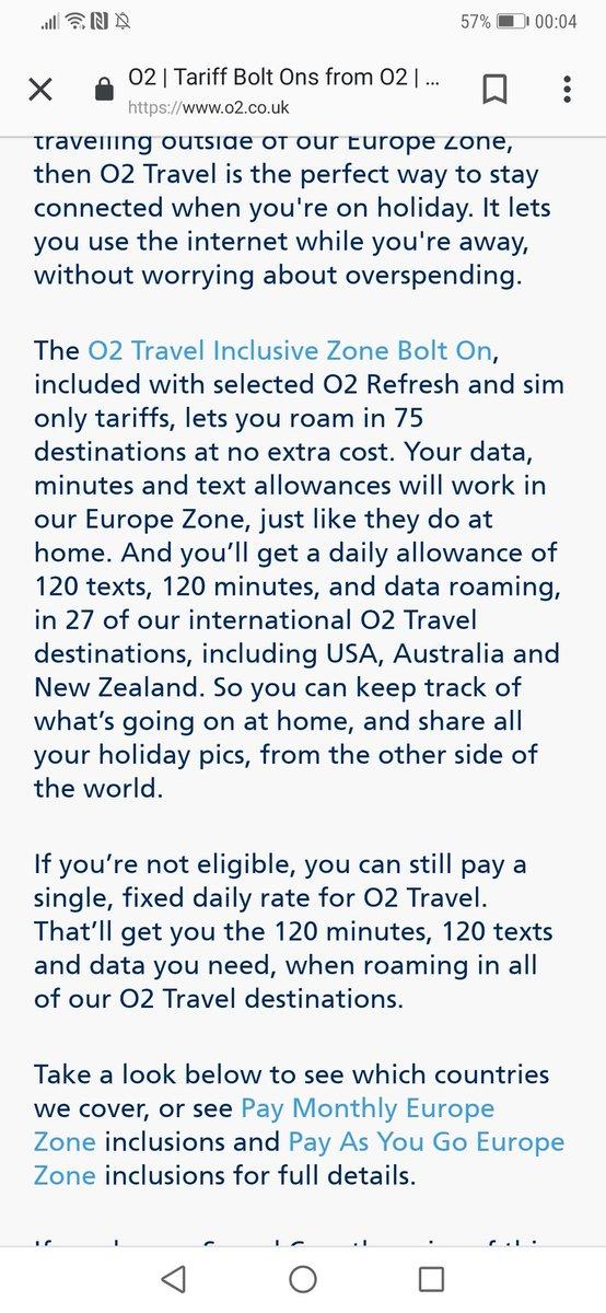 O2 travel inclusive zone