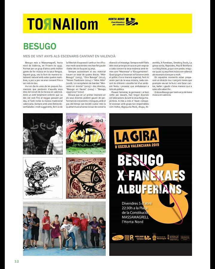 Escalfant motors.  Amb motiu de les trobades d'@escolavalenciana  2019 a #Massamagrell, el periòdic  #tornallom inclou un article escrit amb molt d'afecte sobre la banda.  Gràcies Marian per tenir-nos tant afecte i per l'esforç. #besugo2019  #SomiSeremparaules https://t.co/vR4gSMpp3p