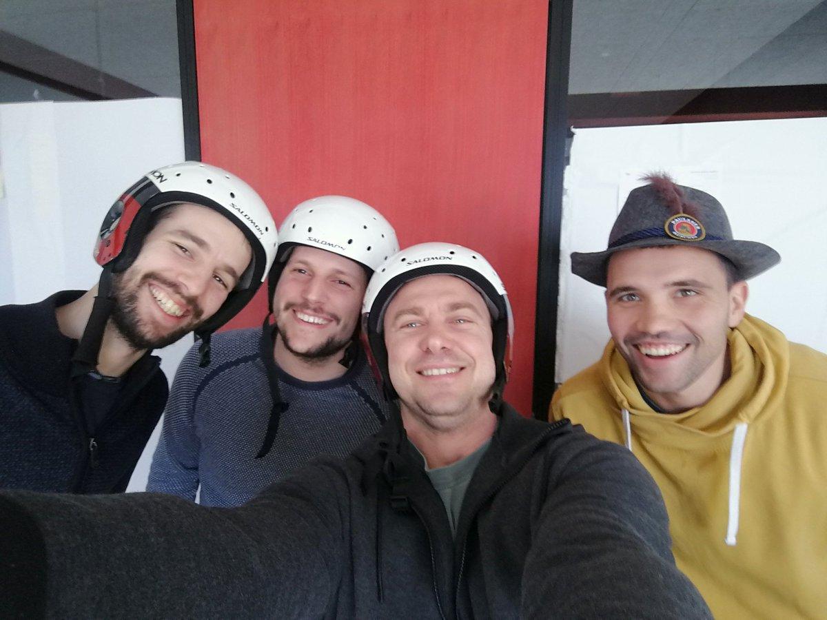 Jamaican bobsleigh team in @croz_hr. And a Bavarian guy :)<br>http://pic.twitter.com/HWJVUuiBxK