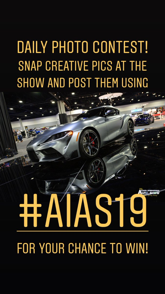 Play our Daily #Photo #Contest at the Atlanta International Auto Show! Post creative pics from the show to #Twitter and #Instagram using our offical hashtag #AIAS19 for your chance to #win!