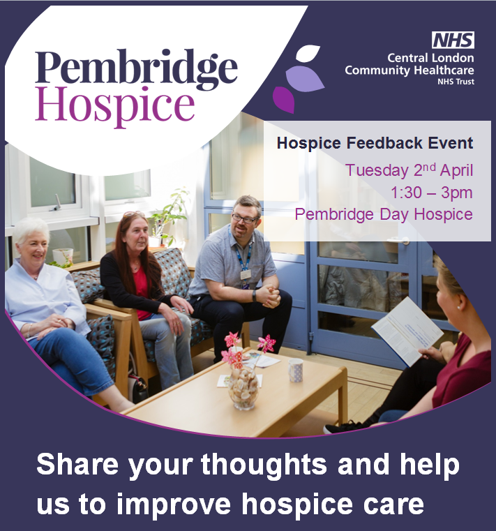 Do you have feedback to give about the care we provide? Come to our next hospice feedback event on Tuesday 2 April from 1.30 - 3pm on the Day Hospice. You can drop in at any time. The hospice is part of @CLCHNHSTrust Central London Community Healthcare NHS Trust