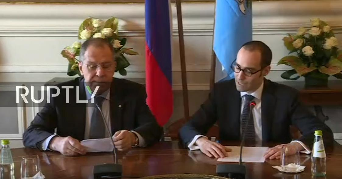 #Lavrov and #SanMarino FM #Renzi speak to press after meeting  Watch LIVE:  http:// rupt.ly/fiqdw  &nbsp;  <br>http://pic.twitter.com/g12Vl2sM9e