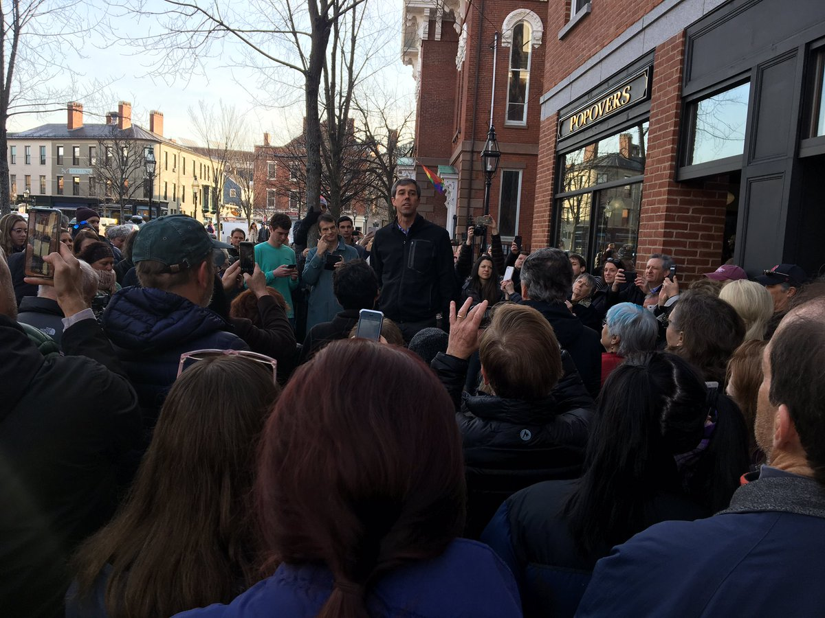 Beto outside in 37 degree weather with his words echoing in Portsmouth Market Square #fitn #nhpolitics – at Popovers on the Square