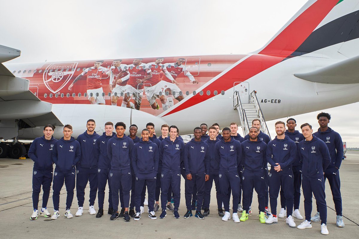 What better way for the Gunners to fly to Dubai than on our newly-branded @Arsenal A380. The team are in town for a friendly with @ALNasrSC on Tuesday. #ArsenalinDubai  http:// prez.ly/W9V  &nbsp;  <br>http://pic.twitter.com/RcJezLhzVL