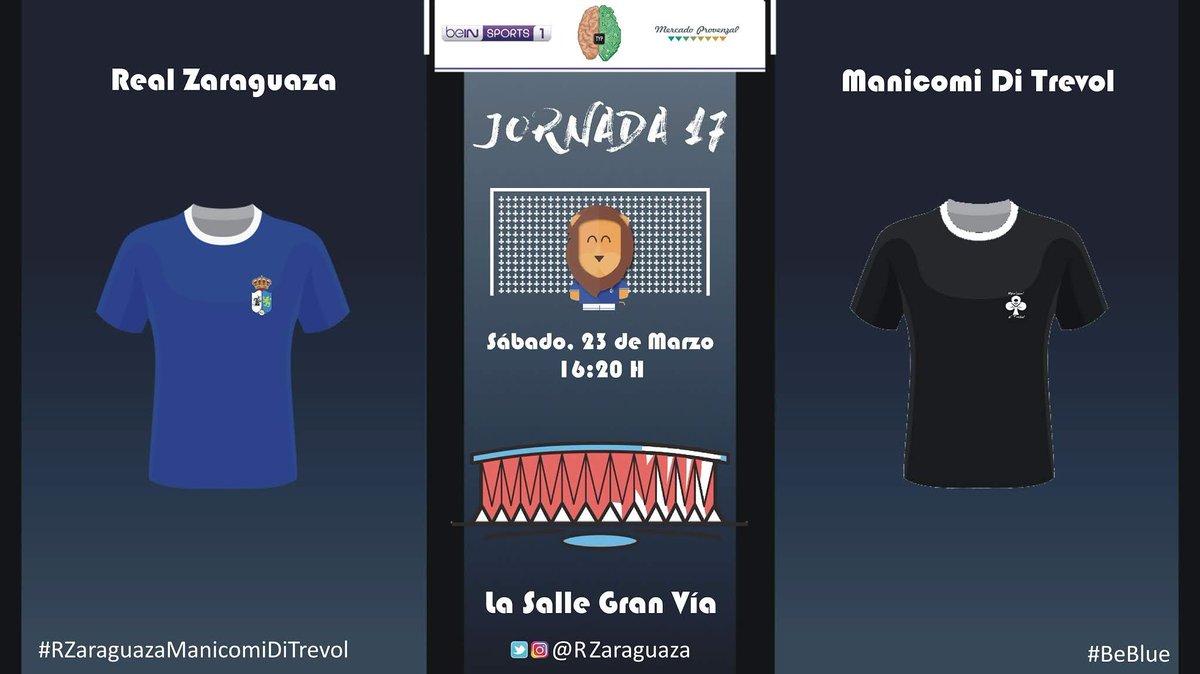 Tras el partido aplazado y con los efectivos justos, volvemos a las canchas para enfrentarnos a un rival muy conocido por nuestros guerreros  #RZ #RealZaraguaza #RZaraguazaManicomiDiTrevol #Jornada17 #BeBlue #Guerreros #VamosEquipo #ElColorDeUnSentimiento #Lucha