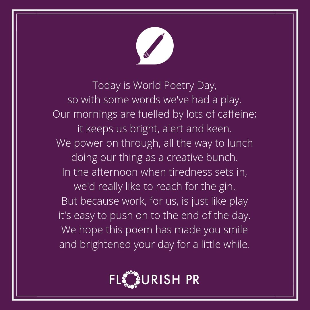 Well, what to post on World Poetry Day? Our very own attempt at a poem.  #worldpoetryday #poem #getwriting #words #poetry