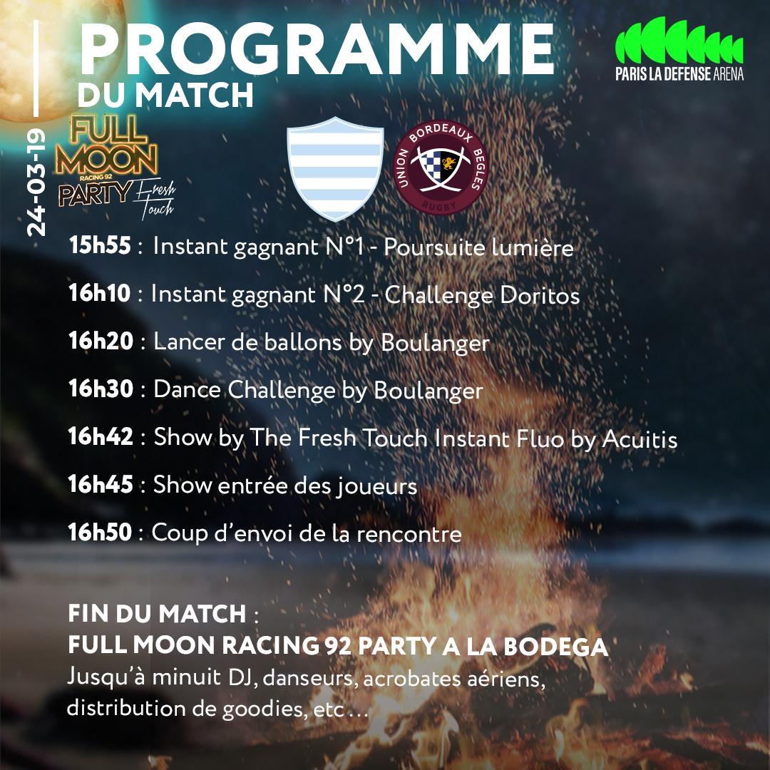 RT @ParisLaDefArena:  Programme : Racing 92/Bordeaux  Les équipes du @racing92 ont prévu de nombreuses animations pour ce choc du TOP14 …
