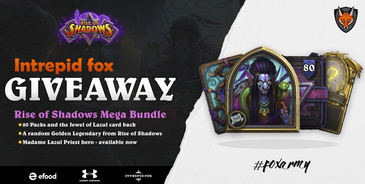 INTREPID FOX HEARTHSTONE GIVEAWAY 1x Rise of Shadows MEGA Bundle  ➡️FOLLOW @intrepidfoxgg  ➡️RETWEET this picture Winner will be announce on 7th April LIVE on 📺https://t.co/ziAxasuyNs after the Grand Final of Intrepid Fox Hearthstone Open Invitational. #Hearthstone #Giveaway https://t.co/qFQWkRD7xl
