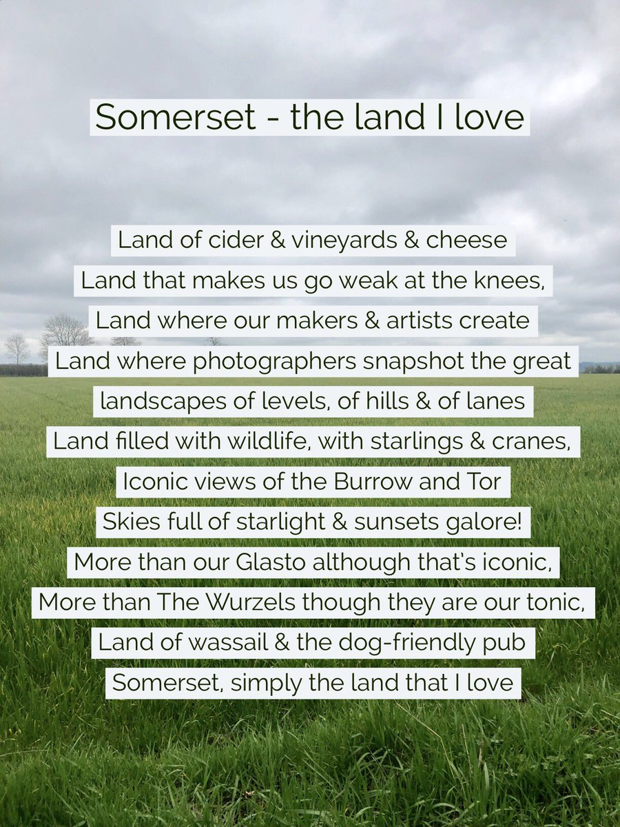 It's become a bit of a tradition on #worldpoetryday for me to write a little poem about our glorious county!  So, here's this year's offering - Somerset, the land I love! (I flipping do you know!!)  #poems #somerset #somersetcool<br>http://pic.twitter.com/rWjSDAra1b