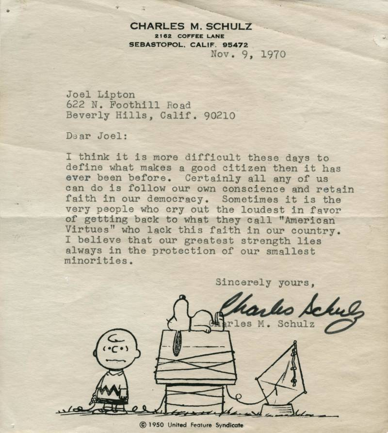 """In 1970, students in a fifth-grade class were assigned to write a letter to someone they admired, asking them """"What makes a good citizen?""""  Joel Lipton just found the response he got from Charles Schulz. https://www.kqed.org/arts/13852729/charles-schulzs-letter-about-democracy-discovered-50-years-later?utm_medium=Email&utm_source=ExactTarget&utm_campaign=20190320%20Arts&mc_key=00Q1Y00001o7sXPUAY…"""