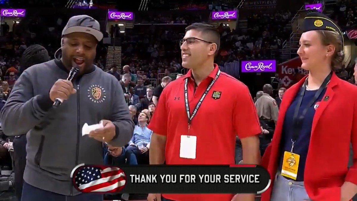 We're proud to team up with @CrownRoyal to recognize our hometown heroes!  Thank you for your service and sacrifice.   #CavsSalute 🇺🇸 #TicketsForHeroes