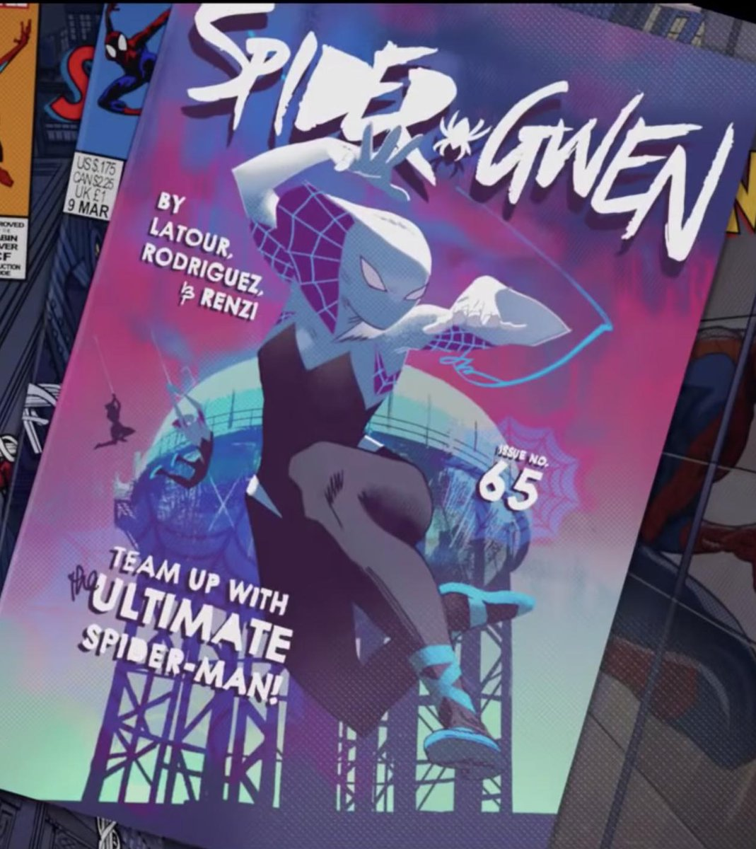 Okay now that it&#39;s been out a while, my one tiny nitpick with Spider-Verse: the inconsistent comic book cover credits!  For Spider-Gwen we get the credits for Latour, Rodriguez, and Renzi (a colorist getting a creator cred, hell yeah), and Bendis gets his for Miles, BUT... <br>http://pic.twitter.com/onoUqWKqCo