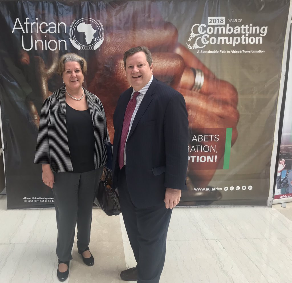 Productive day of meetings at the @_AfricanUnion with @US_AU Amb Mary Beth Leonard.