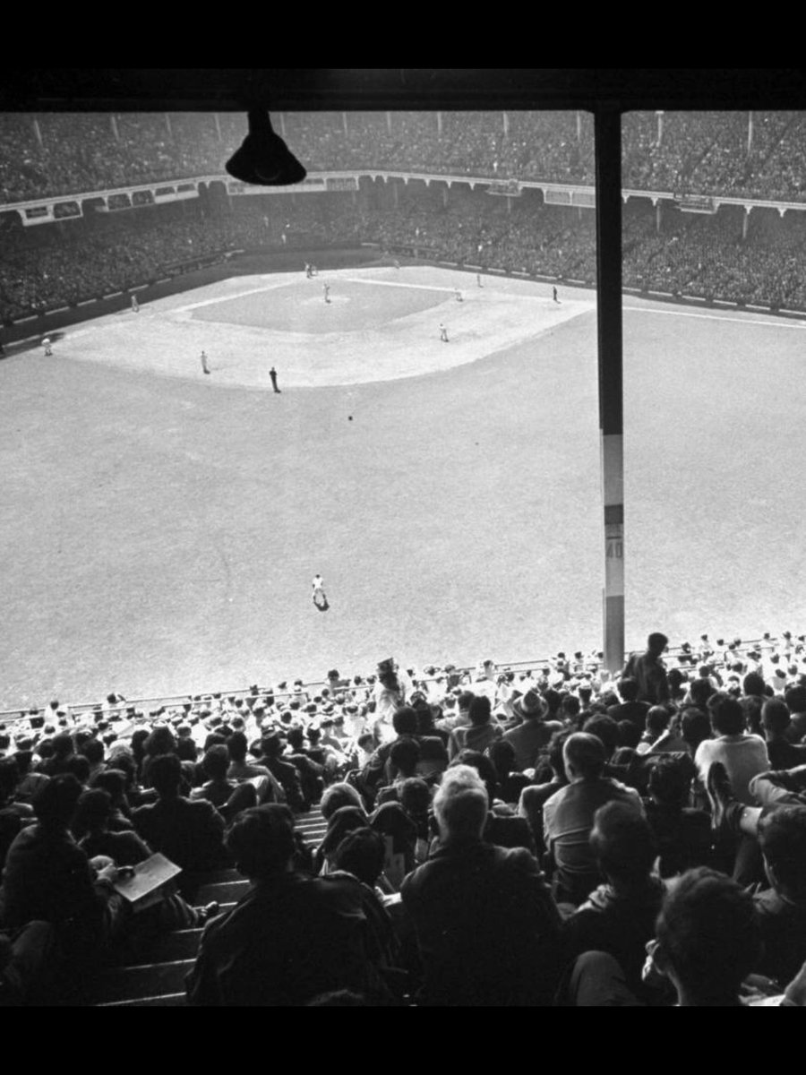 """""""Old Days""""There's a Big Crowd on hand for an early 1950's Dodger game at Ebbets Field.#Dodgers #Brooklyn #1950s #MLB  #NYC"""