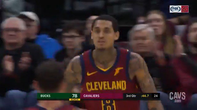 Our bench outscored the Bucks 47-17 last night, led by @jordanclarksons with 23 points.  He's scored in double figures in 63 contests this season – tied with Lou Williams for most among all @NBA reserves.  #CavsBucks HIGHLIGHTS: https://on.nba.com/2UN89sT  #BeTheFight