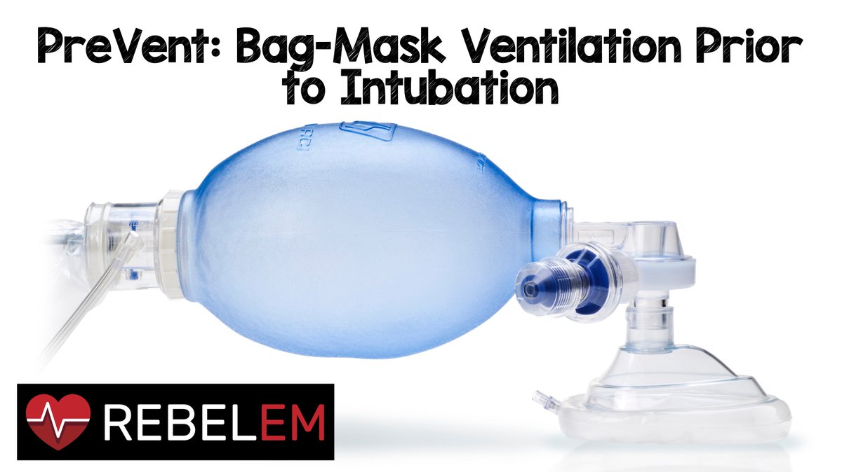 PreVent: Bag-Mask Ventilation Prior to Intubation via @EMSwami &amp; Nikola Tankosic, MD  http:// rebelem.com/prevent-bag-ma sk-ventilation-prior-to-intubation/ &nbsp; …  #FOAMed #FOAMcc  BMV can be considered on case by case basis &amp; may be particularly useful in pts unable to reach appropriate preox &gt;95% despite NRB &amp; nasal cannula at &gt;15L <br>http://pic.twitter.com/Q2gncvVcxA