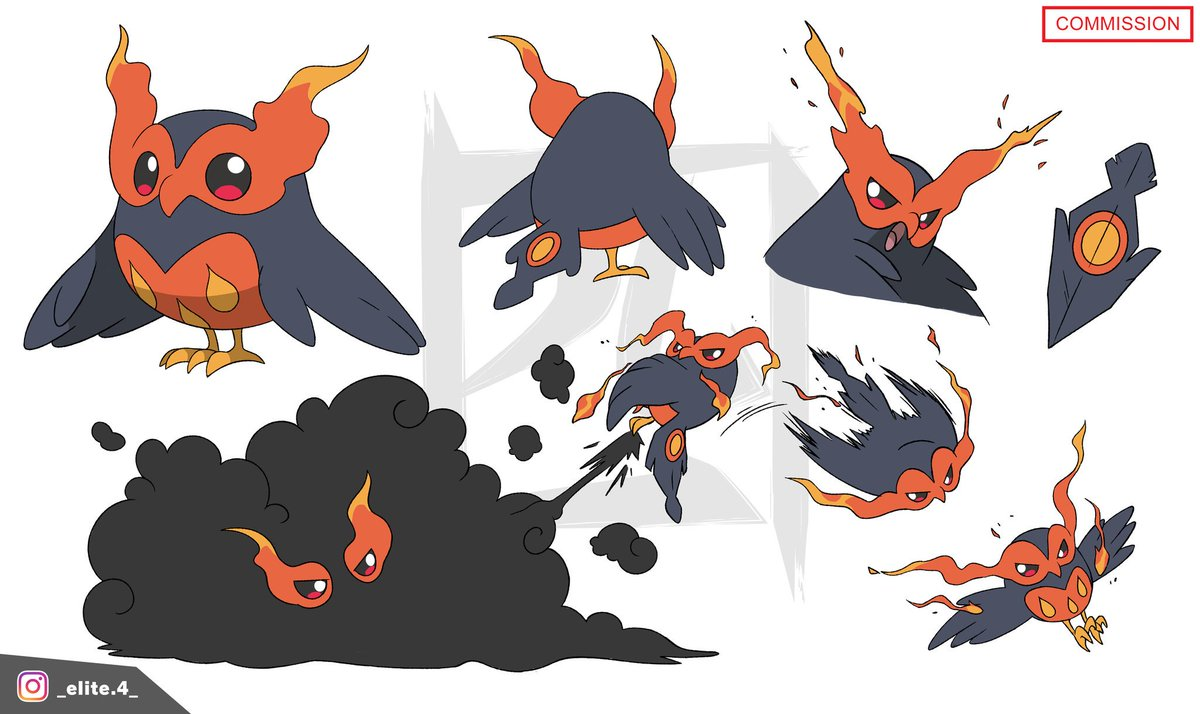 Lil birb commission! It's a Fire/Dark-Type! Would you catch it? What would be its name?