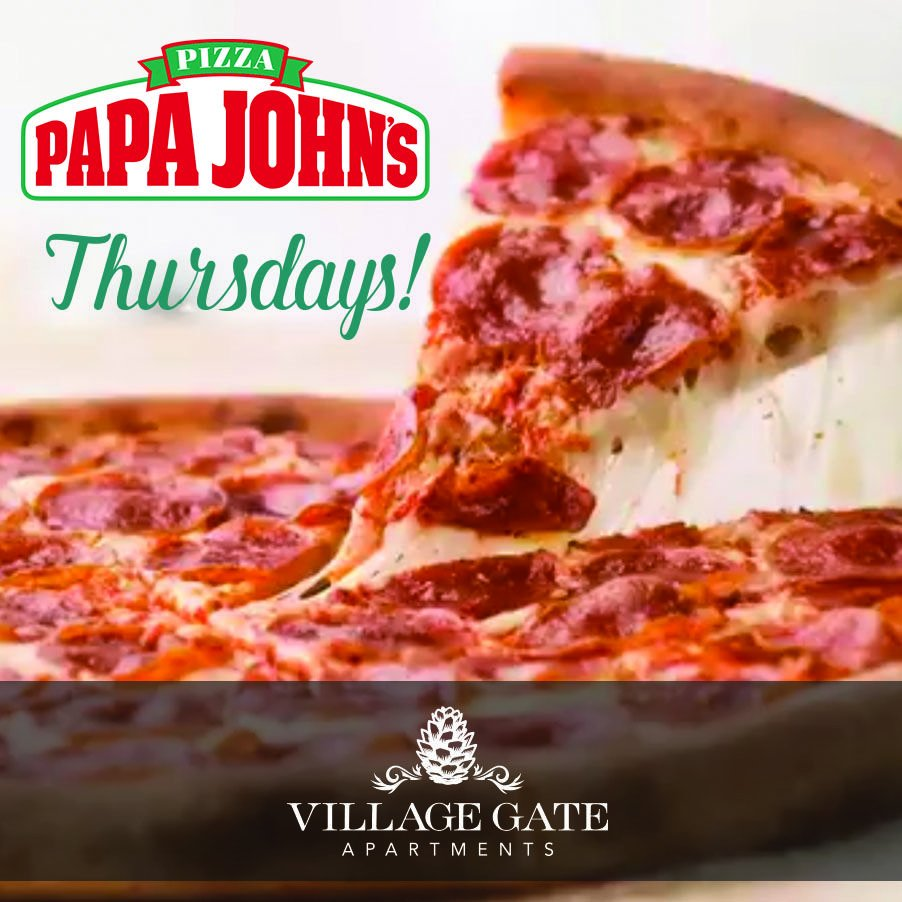 Did you know we still have that Papa John's promotion going on every Thursday? Order online with our coupon code: 50REVL. What are you waiting for? Order your pizza now!  #papajohnspizza #papa #johns #pizza #pizzadaythursday #thursday #villagegateapartments #village #gate