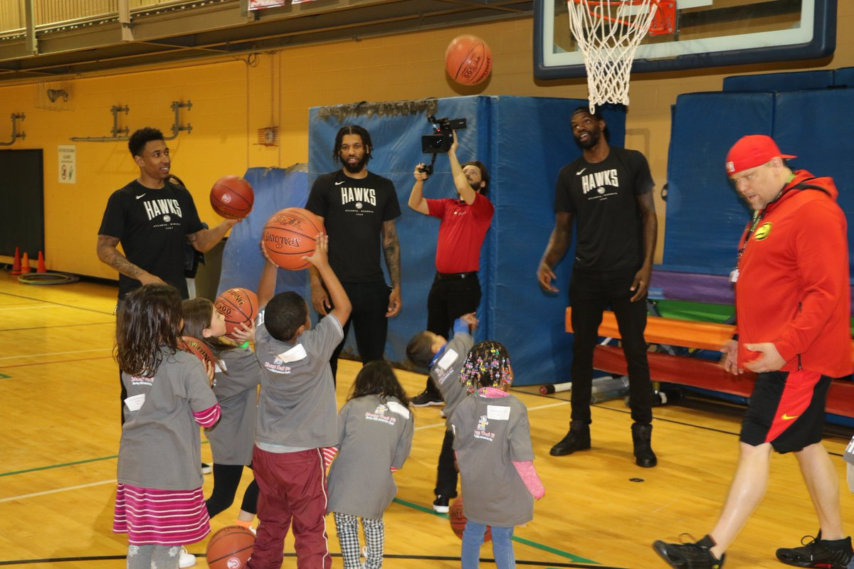 Yesterday @d_dedmon3, @fearthefro95 and @10jadams visited the Decatur Family YMCA and distributed shoes to kids in need and taught them basketball drills and nutrition tips as part of #NBAFitWeek!   Special thanks to @ShoesThatFit @atlantaymca @jrnba @nbacares   #TrueToAtlanta