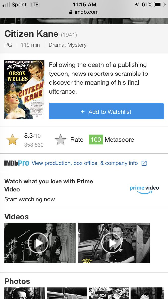 @BaldBryan @GinaGrad @AdamCarollaShow @adamcarolla Citizen Kane is rated as the #1 movie of all time by the American Film Institute. Check out the IMDB score.