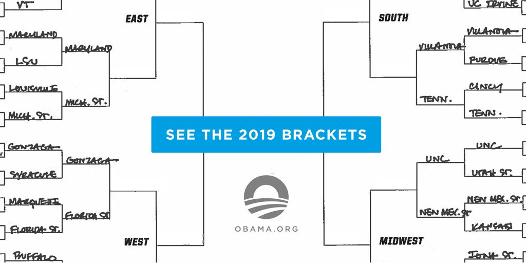 Just in the nick of time: My brackets have never been my one shining moment, but here we go again. You can check out my #MarchMadness picks here: https://go.obama.org/2019-bracket