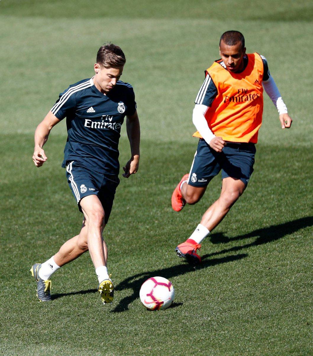 Marcos Llorente trabajó normalmente con el grupo, mientras Lucas Vázquez avanza su recuperación e inicia entrenamiento con balón. #HalaMadrid