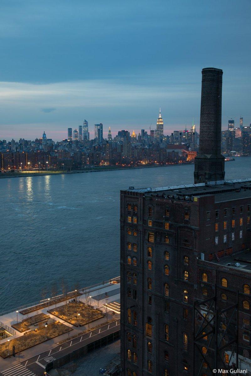 Last night's blue hour over Williamsburg's Domino Sugar Refinery #NYC
