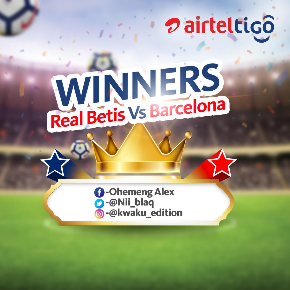 Congratulations guys!   #AirtelTigoMatchDay #LaLigaSantander #RealBetisBarça #PredictandWin