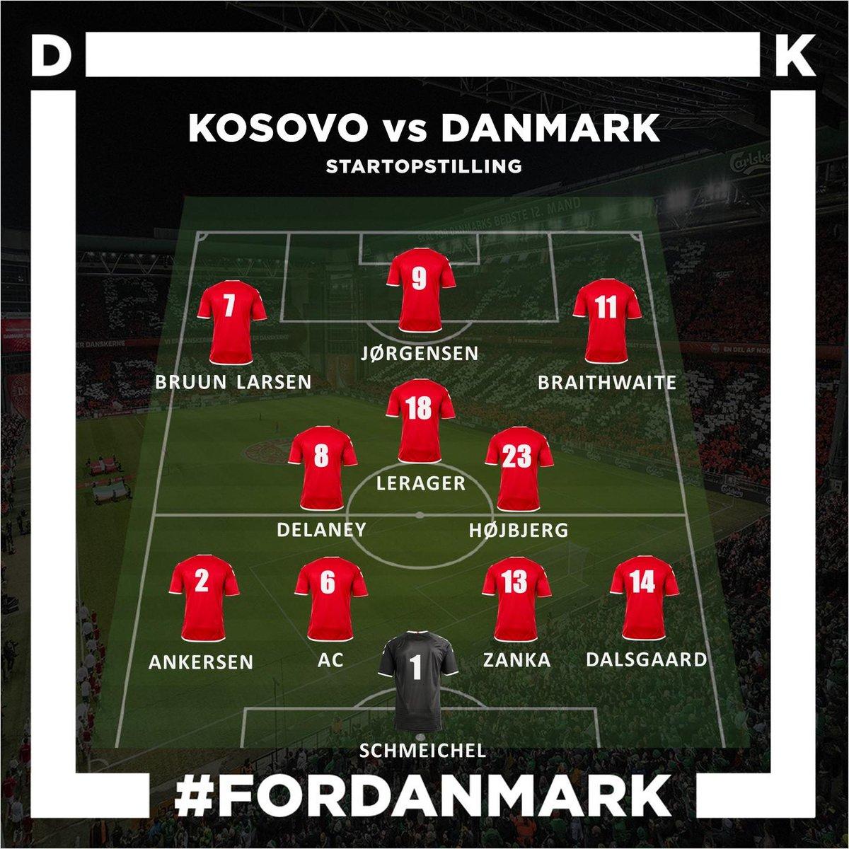 Der er debut til @jacobbruunlarsen, der starter inde for første gang for Herrelandsholdet. 🙌 Her kan I se alle vores 11 startere til testkampen mod Kosovo 🇩🇰 God kamp! #ForDanmark