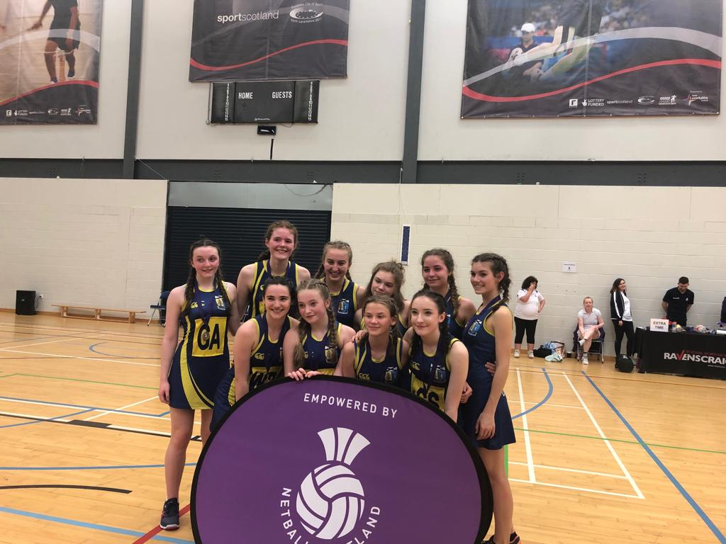 What a game and what a tremendous effort from the girls. 👏👏  Final score at the end of extra time Holy Cross 40 - Lomond 37 #LomondSchool #netball #team #pippedatthepost