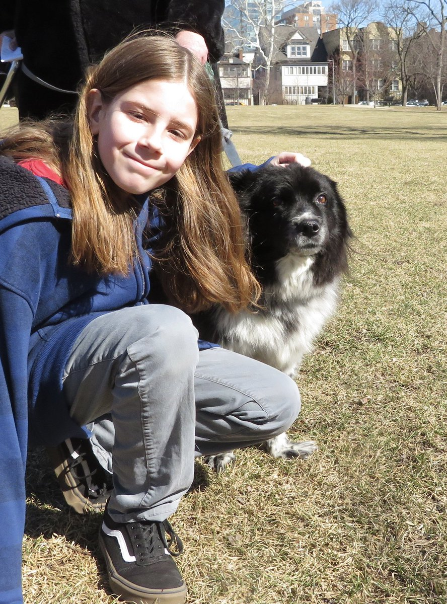I pet Bonnie. She is a 12 year old Border Collie, Blue Heeler mix. She was a service dog who lived with 4 kids. Every night while her family slept, she cleaned the house by herding the toys into a pile. Bonnie was attacked by 2 dogs and had to retire. Now she gets nervous easily. <br>http://pic.twitter.com/4eibcpxoU5
