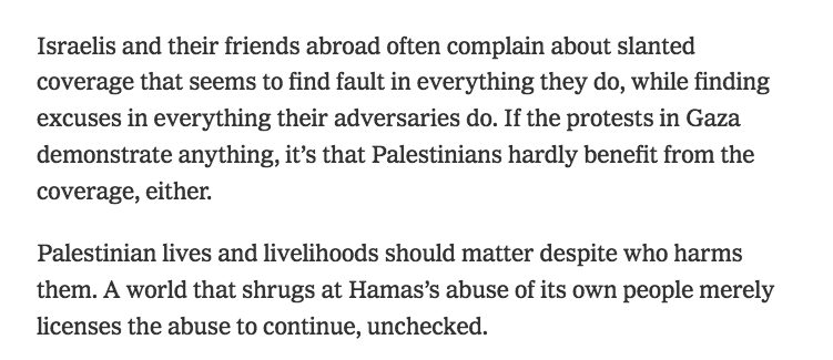 Bret Stephens after a protest in Gaza was violently broken up by Hamas, left, and Bret Stephens after Israeli soldiers shot 6,000+  Gazans during weeks of protests, right <br>http://pic.twitter.com/Ro6Mz2IjqH